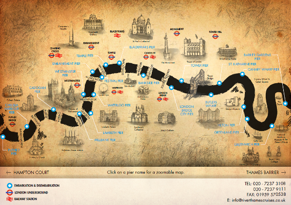 River Thames Cruise Map Of Piers And Popular Locations