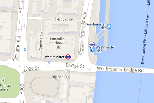 Map of Westminster Pier